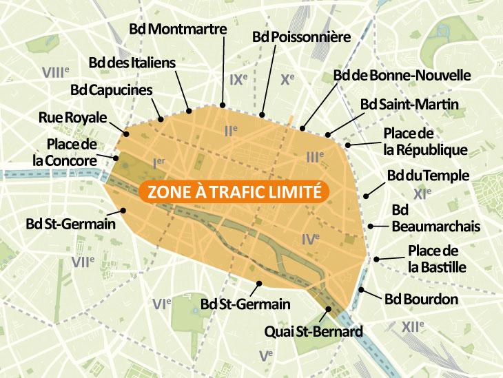 PLAN DES ARRONDISSEMENTS DE PARIS TRANSFORMES EN ZONE APAISEE